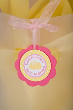 Lemonade Favor Tags Birthday Party - Hot Pink & Yellow