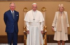 Pope Francis, centre, is famously far more relaxed than his predecessor Pope Benedict XVI