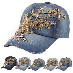 b4e1590178139 Fashion Women Lady Diamond Flower Baseball Cap Hip-Hop Hat Jeans Cotton  Caps Franelas
