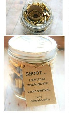 Gift for the hard to buy for man in your life! Great guy gift ~ dad ~ husband ~ Perfect for Christmas ~ Birthday ~ Fathers day ~ bullets in a jar ~ gift in a jar ~ toilet paper roll with money in it ~ Unique cash gift  www.KendollMade.com