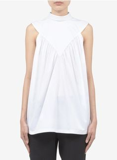 Givenchy - Cotton V-panelled blouse | White Vests/Tanks Tops | Womenswear | Lane Crawford