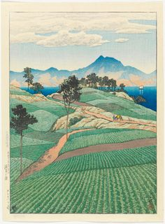 "Kawase Hasui, ""Mt. Unzen Seen from Amakusa,"" from the series ""Selection of Scenes of Japan,"" 1922, woodblock print, ink and color on paper"