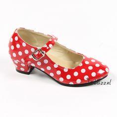 Spaanse schoenen rood/wit Glossy. www.laluzz.nl