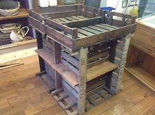 Retail shop display Centre Island stand old rustic vintage with shelves