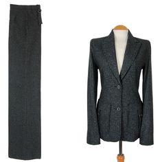 UK8 US4 Wool Tweed Pinstripe Extra Long Tall Trouser Suit Womens Ladies Size | eBay