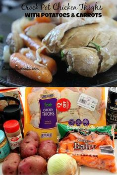 Crock pot chicken thighs with potatoes and carrots are an easy, healthy, and tasty dinner for any day of the week. This crock pot chicken recipe has all the classic flavors we all love in a chicken dish and it's easy to mix it up. Not feeling potatoes? Skip them and serve this dish over noodles or with rice.