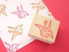 Origami crane rubber stamp, Wedding decor, Invitation stamp, Japanese stamp Crane stamp Red bird invitation Custom stamp Japanese stationery by JapaneseRubberStamps on Etsy