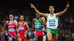 Taoufik Makhloufi of Algeria wins the gold in the men's 1500m final in the Olympic Stadium.