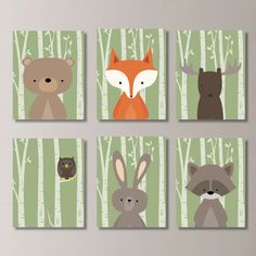 Baby Boy Nursery Art. Woodland Nursery Art. by RhondavousDesigns2