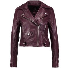 NEELA Leather jacket red plum ($325) ❤ liked on Polyvore featuring outerwear, jackets, purple jacket, real leather jackets, red jacket, genuine leather jackets and 100 leather jacket