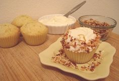 Coconut Cupcakes  Yields 4 cupcakes. Ingredients FOR THE CUPCAKES: ¼ cup canola oil pinch of salt ⅓ cup sugar 1 large egg, at room temperat...