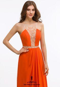 Stunning Designer Evening dress with Illusion bodice in a vibrant burnt orange color. Orange Evening Dresses, Evening Gowns, Designer Evening Dresses, Designer Gowns, Burnt Orange Color, Silver Sequin, All Brands, Illusions, Bodice
