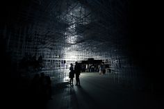 """UVA: Serpentine Gallery Summer Pavilion Intervention London 2013  Brings a cloud-like structure to life with an electrical storm.  Their performative installation aims to make the architecture """"breathe"""", awakening a character and energy, seemingly from within."""