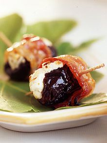 Bacon-wrapped Plums with Goat Cheese- almost like a bull's eye.