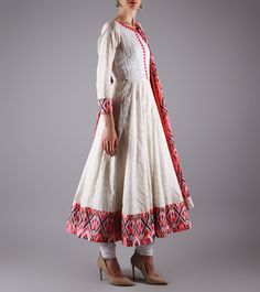 White Jamdani Cotton Churidar Suit