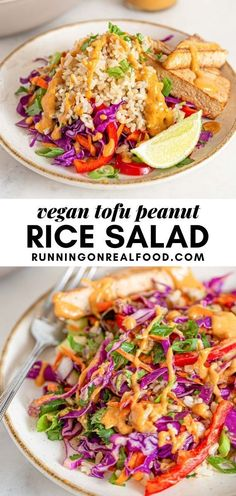 This vegan Thai chopped salad with brown rice, tofu and peanut sauce is easy to make and highly nutritious thanks to a colourful array of fresh veggies.