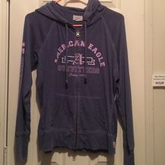 American Eagle Jacket Dark blue and purple long sleeve American Eagle zip up jacket. there are two zippers. Great condition American Eagle Outfitters Jackets & Coats