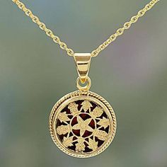 Gold plated pendant necklace, 'Circle of Flowers' - Gold Openwork Floral Pendant Necklace from India