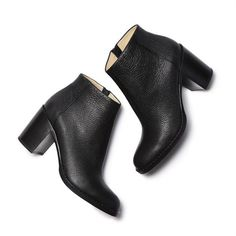 Bushwick Ankle Boot in Grain Goatskin ❤ liked on Polyvore featuring shoes, boots, ankle booties, ankle bootie boots, short boots, stacked heel bootie, bootie boots and stacked heel booties