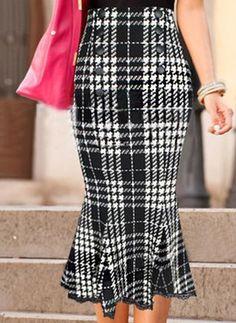 a24f0857283fc Solid Mid-Calf Knee-Length Elegant Sashes Skirts (1255068) Moda