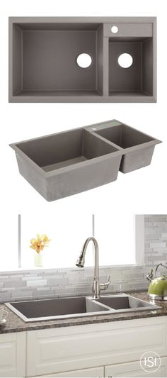 40 manton drop in granite composite sink with drain board white convenience and style go hand in hand with this kitchen sink from signature hardware check out the 34 arvel offset double bowl granite gray composite sink solutioingenieria Gallery