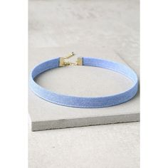 Now and Denim Light Blue Choker Necklace ($15) ❤ liked on Polyvore featuring jewelry, necklaces, blue, lulu jewelry, blue choker, light blue necklace, denim necklace and blue necklace