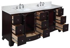 Palazzo 72-in Bath Vanity (White/Espresso) transitional-bathroom-vanities-and-sink-consoles