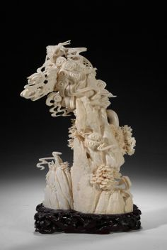 "CHINESE IVORY CARVING | CHINESE CARVED IVORY ""MOUNTAIN SCENE"" FIGURAL GROUP"