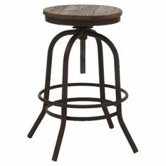 """Adjustable solid fir wood counter stool.   Product: Counter stoolConstruction Material: Fir woodColor: Distressed naturalFeatures: Adjustable seat Dimensions: 24-29"""" H x 16.9"""" DiameterCleaning and Care: Wipe clean with a dry cloth"""