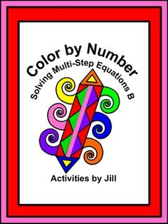 Make practice fun with this color by number activity!  Students will solve multi-step equations resulting in fractional/rational solutions. Equations include distributing, variables on both sides, combining like terms and fractional coefficients.  CCSS 8.EE CCSS A-REI