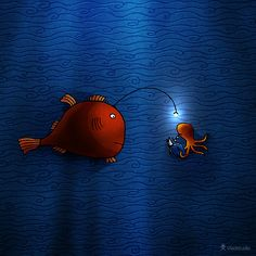 Anglerfish · Desktop wallpapers · Vladstudio