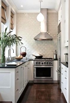 Lovely narrow black & white kitchen