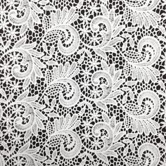 The paisley inspired design of our Guipure French Venice Lace is 52/53'' inches wide and 100% polyester. This fabric is available in several colors and sold by the yard. This wonderful lace is perfect