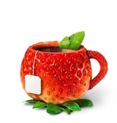 Strawberry tea cup ~ Nothing nicer than to sip from a pretty cup we love. <3