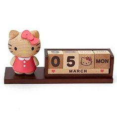 Amazon.com: 2016 Sanrio Hello Kitty Wooden Block Perpetual Desk Calendar Office Decor: Toys & Games
