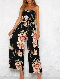 84c09db1e42 Bohemia Floral Off Shoulder Wide Leg Jumpsuits