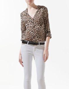 ANIMAL PRINT BLOUSE - Shirts - Woman - ZARA United Kingdom