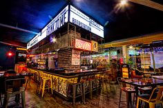 Heaven Gastropub on Behance Thai Restaurant, Restaurant Design, Sport Bar Design, Cafeteria Design, Sports Pub, Brewery Design, Cafe Shop Design, Futuristic Interior, Arcade