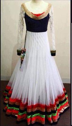 Get Designed Now: Asian Fashion Umbrella Frock Anarkali Dress, Pakistani Dresses, Indian Dresses, White Anarkali, Anarkali Suits, Indian Wedding Outfits, Indian Outfits, Indian Weddings, Indian Long Dress
