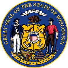 The great seal of Wisconsin was created in 1851 and features Wisconsin's state coat of arms; Milwaukee, Mississippi, Iowa, 50 States, United States, Illinois, Minnesota, Marketing Musical, Michigan