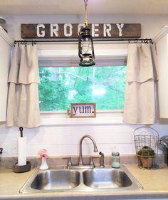 #homeongrassyroad drop cloth curtains. Modern farmhouse kitchen.