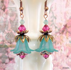 Teal and Pink Tulip Flower Earrings