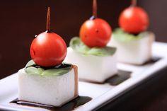 Vegan Mozzarella, Cherry Tomato and Basil Skewers