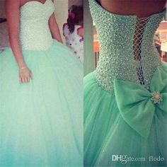 Sexy Pearls Mint Green Tulle Ball Gown Quinceanera Dresses 2016 Cheap Sweetheart Beaded Sweet 16 Prom Dresses With Bow Back Quinceanera Dresses On Sale Quinceanera Dresses Under 100 Dollars From Flodo, $131.16  Dhgate.Com