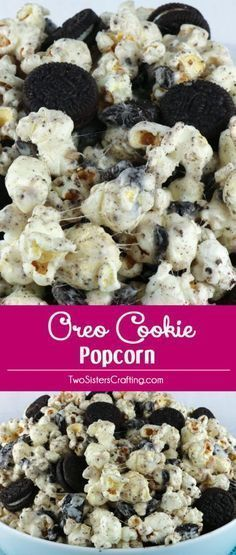 Oreo Cookie Popcorn - sweet and salty popcorn covered in marshmallow and mixed with yummy Oreos. A yummy Oreo dessert that is super easy to make! Pin this delicious popcorn treat for later and follo (Sweet Recipes Oreo) Yummy Snacks, Snack Recipes, Delicious Desserts, Cooking Recipes, Yummy Food, Top Recipes, Delicious Chocolate, Easy Oreo Recipes, Fun Food