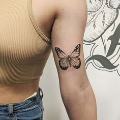 Butterfly Tattoos On Arm, Butterfly Tattoos For Women, Butterfly Tattoo Designs, Mandala Tattoo Design, Butterfly Tattoo Meaning, Bicep Tattoo Women, Girl Neck Tattoos, Body Tattoos, Sleeve Tattoos