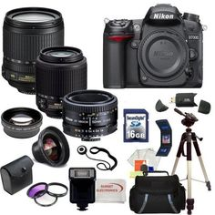 Nikon D7000 16.2MP DX-Format CMOS Digital SLR with 3.0-Inch LCD with Nikon 18-105mm ED VR AF-S DX Nikkor Autofocus Lens & Nikon Normal AF Nikkor 50mm f/1.8D Autofocus Lens & Nikon AF-S DX VR Zoom-Nikkor 55-200mm f/4-5.6G IF-ED Lens with SSE Pro Series 16GB Accessory Package: Including 3 Extra Lenses, 16GB SDHC Card, Deluxe Carrying Case, Tripod and much much more... by Digital. $1719.99. 16.2MP DX-Format CMOS sensor that works together with Nikon's EXPEED 2 image processor, 1...
