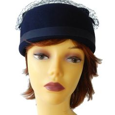 Pillbox Hat with Netting Genuine Fur Felt Navy by EclecticVintager