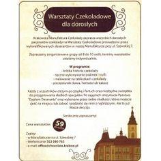 Warsztaty czekoladowe - dla grup 8 osob :( Visit Poland, Places To Visit, Chocolate, Historia, Chocolates, Brown
