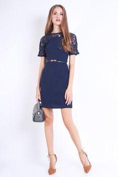 RESTOCKED PREMIUM EASTON CROCHET NECKLINE DRESS IN NAVY BLUE [S/M/L] LAST FEW!
